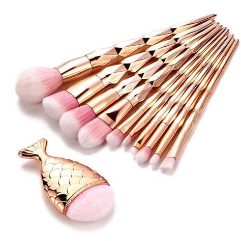Set Gold Cantik 11 11pcs gold makeup brush set mermaid fishtail