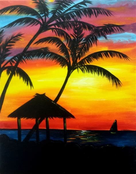 Backyard Fort For Kids Quot Tiki Sunset Quot Wine Amp Canvas Painting Class Art Event In