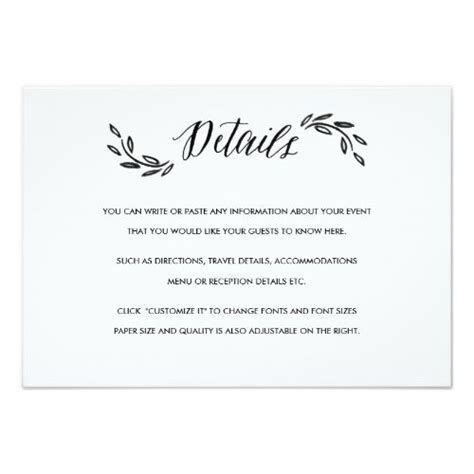 Wedding Details Card Size