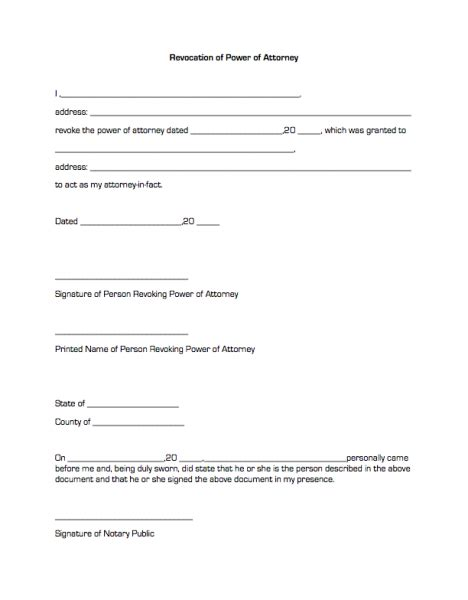 business power of attorney template revocation of power of attorney business forms
