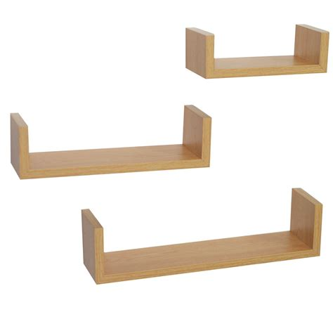 contemporary floating wall shelves set of 3 oak u shape floating wall shelves contemporary