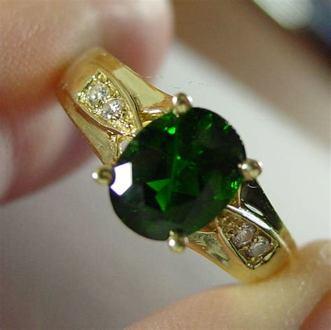 Chrome Diobsite 14k yg chrome diopside ring with diamonds size 8 1 2 from