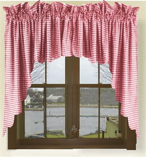 red checked curtains red gingham check scalloped window swag valance set