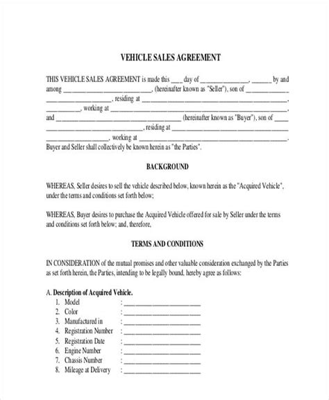 motor vehicle sales agreement template 31 free sales agreement forms
