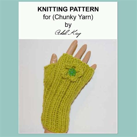 knitting pattern chunky yarn mittens sibeal hand and wrist warmers ribbed fingerless corsage