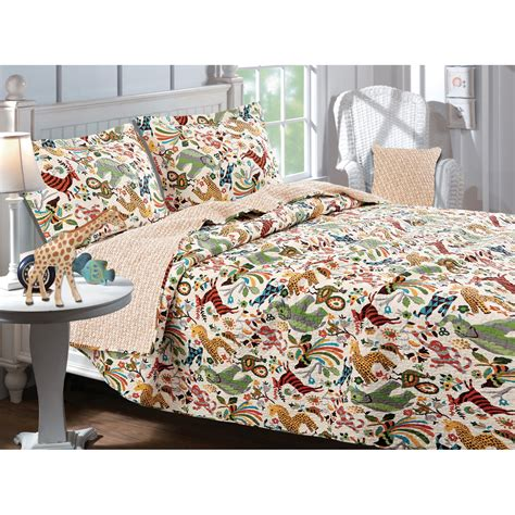 greenland home fashions safari park quilt set bedding