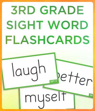 3rd Grade Sight Words Flash Cards Printable