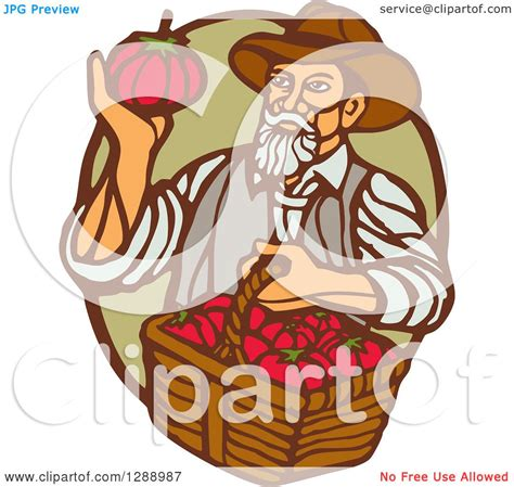 clipart of a retro woodcut clipart of a retro woodcut farmer holding a basket of