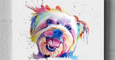 large colorful custom pet portrait watercolor painting