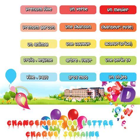 petit bac alphabet jeu de mots 15 categories