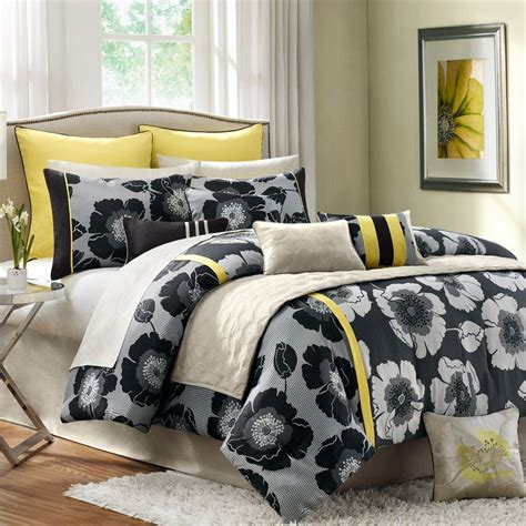 anya 8 floral print bedding set gray yellow modern interior yellow bedding sets