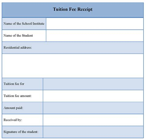 fee receipt template receipt template for tuition fee format of tuition fee