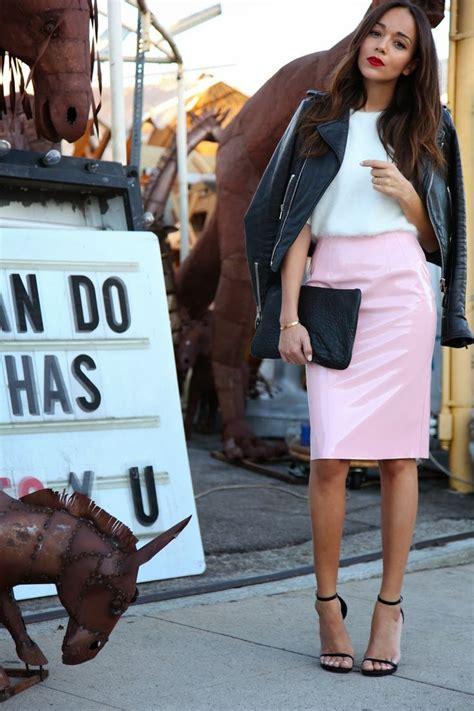 baby pink vinyl pencil skirt