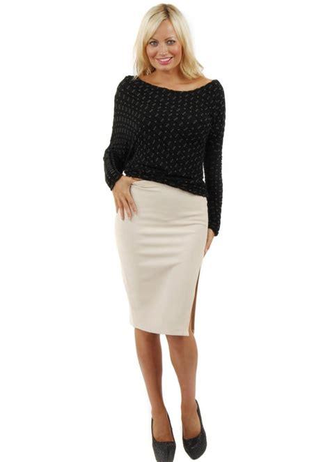 stella beige pencil skirt pencil skirt fitted