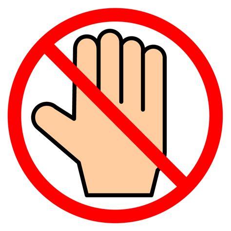 No Touching 手をふれないで 禁止行為 注意する イラスト 無料