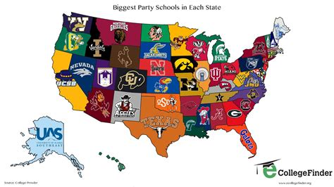 best colleges for parties map the biggest party schools in every u s state heavy