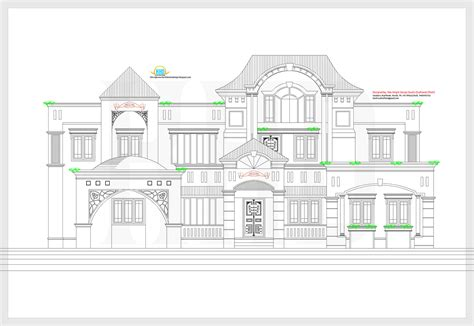 2d elevation and plan of 4bhk luxury house 4198 sq ft