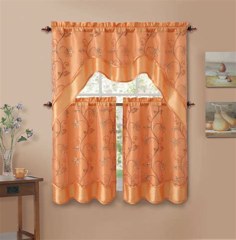Orange Valances Kitchen 3 orange leaf embroidered kitchen window curtain set with valance ebay