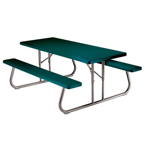 Folding Picnic Table And Stools by Lifetime 57 In X 72 In Green Folding Picnic Table With