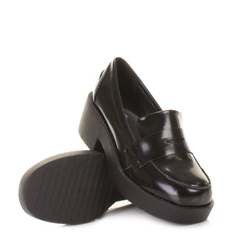 womens chunky loafers womens black chunky platform loafer flat shoes