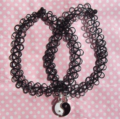 black tattoo choker yin yang friendship 90s black choker on storenvy