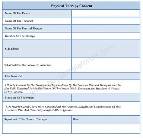 therapy templates physical therapy consent forms sle forms