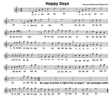 testo canzone happy days musica e spartiti gratis per flauto dolce happy days