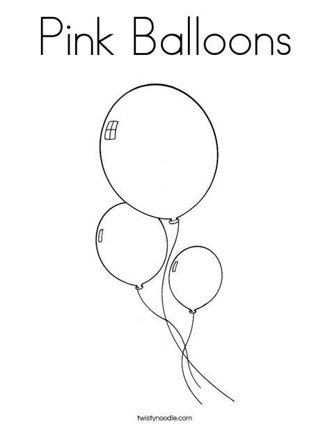 Color Pink Coloring Pages pink balloons coloring page twisty noodle