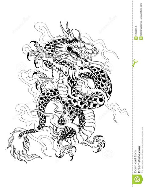 tattoo japanese style dragon stock vector image 62695054