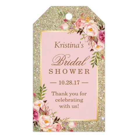 correct wording for bridal shower favor tag gold glitter pink floral bridal shower thank you gift tags zazzle