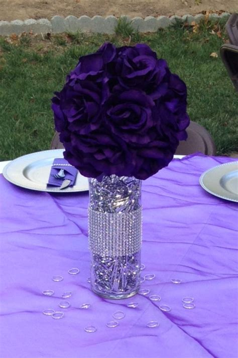 purple and silver centerpieces party masquerade