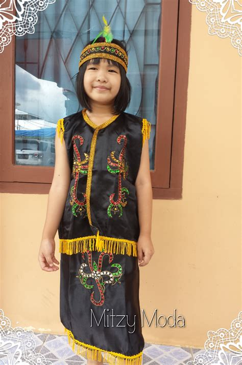 Baju Adat Kalimantan Anak Laki Laki Xl jual baju pakaian adat dayak kalimantan barat anak perempuan laki laki mitzy moda