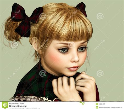 3d little girl pw expectant 3d cg royalty free stock photography image
