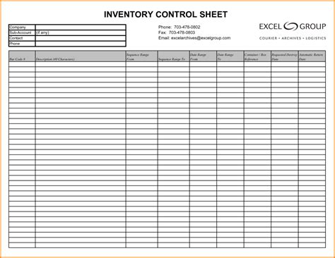 Inventory Template With Count Sheet