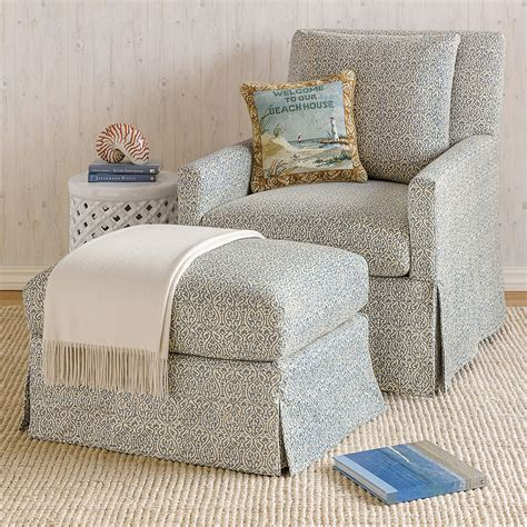 blue floral chair and ottoman miranda swivel glider chair ottoman blue floral gump s