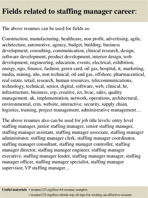 top 8 staffing manager resume sles