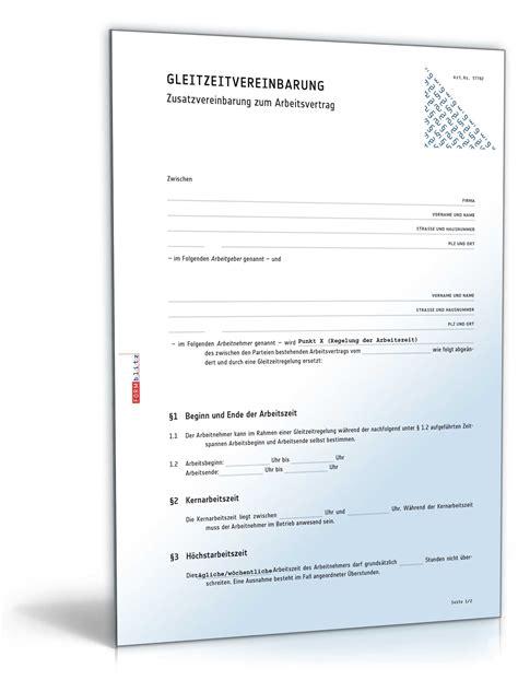 Muster Vertrag Schweiz Gleitzeitvereinbarung