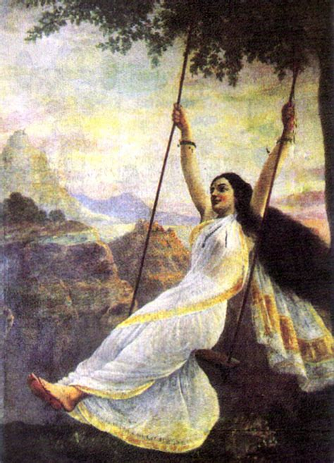 lady on swing painting classical indian paintings by raja ravi varma 121clicks com
