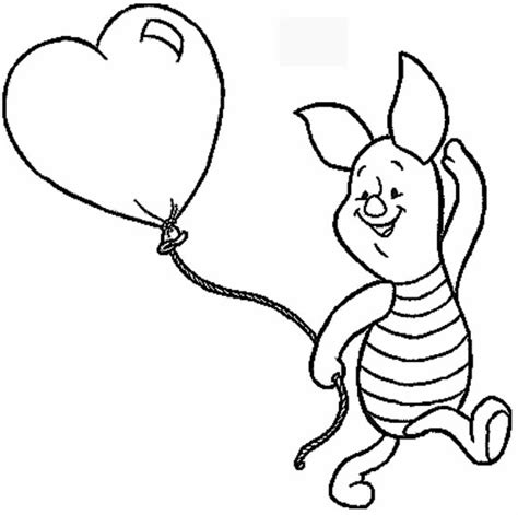 coloring pages disney cartoon characters disney piglet with heart baloon coloring sheets