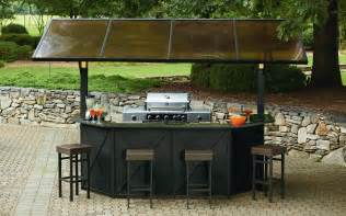 Backyard Pub And Grill Ty Pennington Style Sunset Hardtop Grill Gazebo Bar With Post Lights And Stools Gas