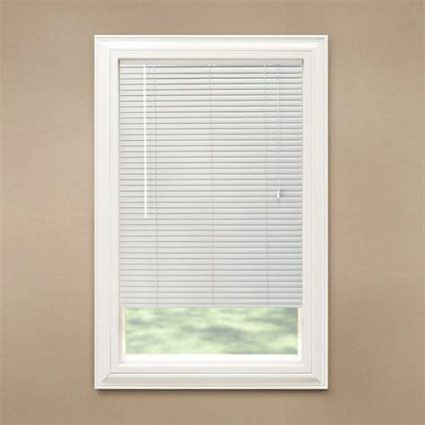 Vinyl Mini Blinds Hton Bay Cut To Width White 1 3 8 In Room Darkening