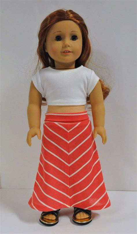 Doll Maxi coral and striped maxi skirt with by circlecsewing american doll clothes