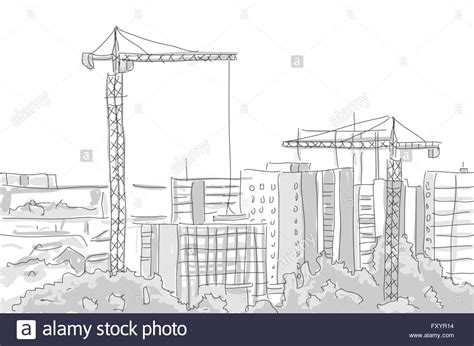 pencil drawings buildings building sketch stock photos building construction tower crane draw graphic design
