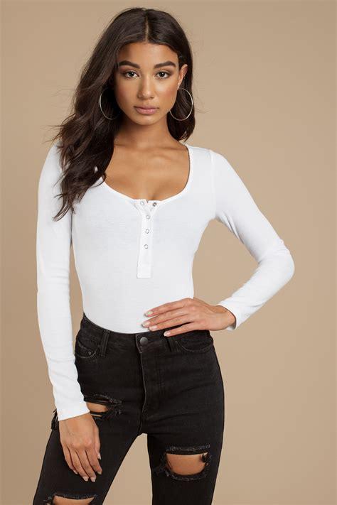 Lover Bodysuit white bodysuit sleeve bodysuit ribbed bodysuit