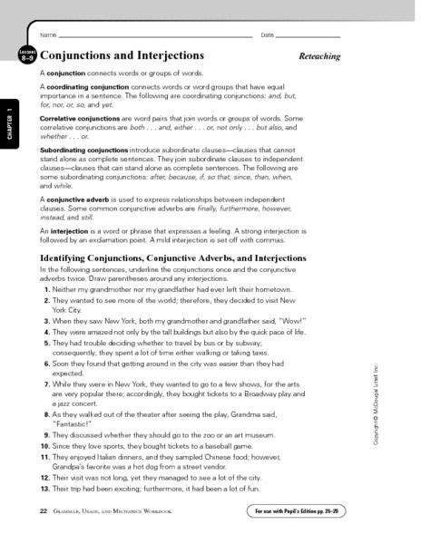 Conjunctions and Interjections Worksheet | Lesson Planet