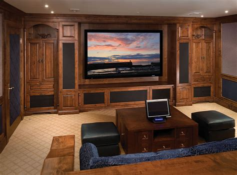 home design idea center media console ideas home theater traditional with basement