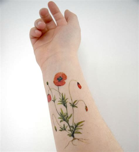 floral temporary tattoos poppy temporary flower temporary