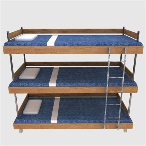 Three Tier Bunk Beds Free Three Tiered Bed 3d Model