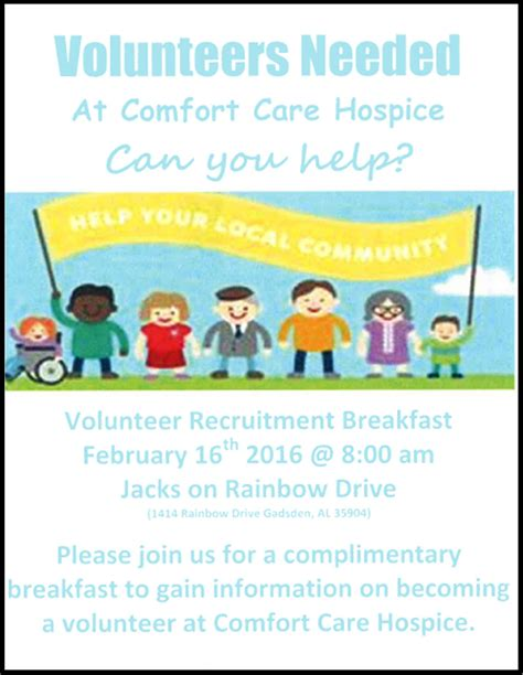 comfort care hospice comfort care hospice volunteer recruitment breakfast