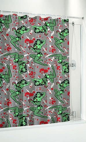 zombie pinup shower curtain fishnet zombie shower curtain awesomeness pinterest